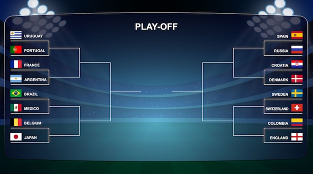 Football cup, play off tournament bracket vector illustration