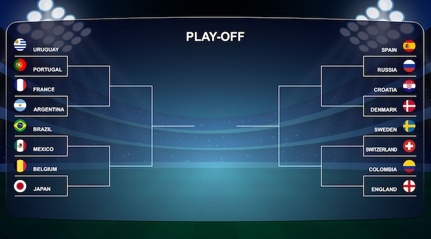 Football cup, playoff tournament bracket vector illustration