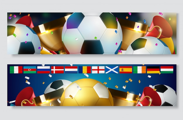 Football cup, soccer championship banner set