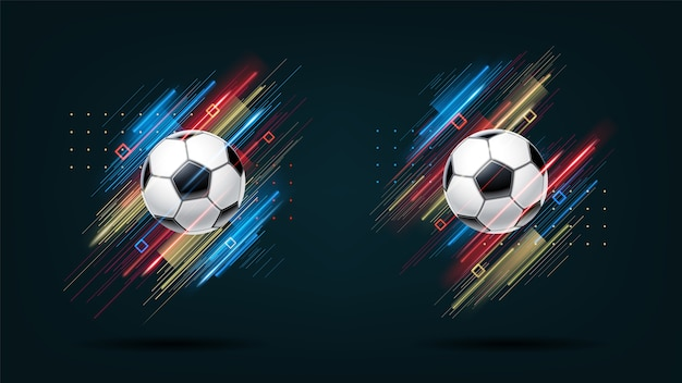 Football cup soccer championship illustration set