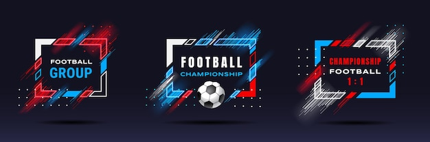 Football cup soccer championship illustration vector frames with dynamic lines isolated on black