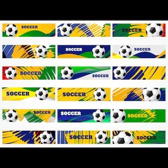 ベクトルメガセットのサッカーサッカースポーツヘッダー
