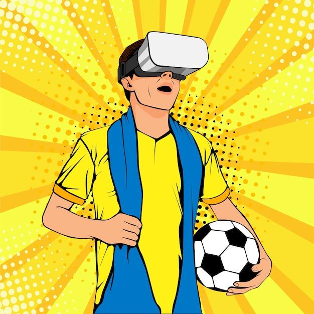 Football fan in virtual reality glasses