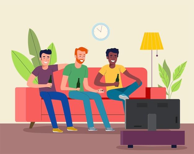 거실에서 tv로 축구를 보는 축구 팬.