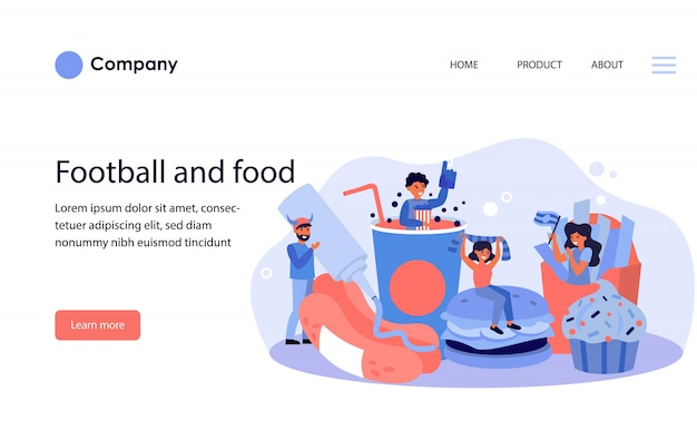 Football fans celebrating team success with fast food. website template or landing page
