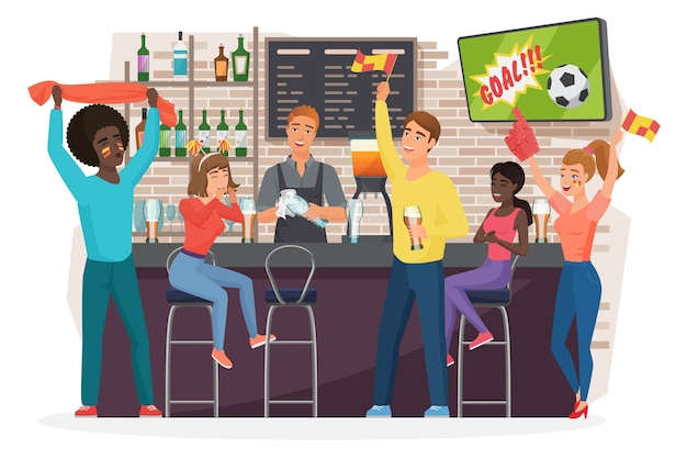 Football fans people drinking beer, having fun in pub bar