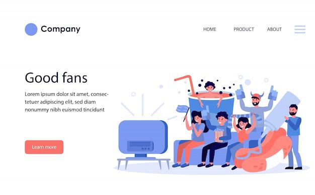 テレビで試合を見ているフットボールのファン。ウェブサイトテンプレートまたはランディングページ