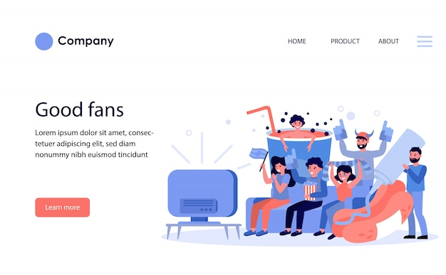Football fans watching match on tv. website template or landing page