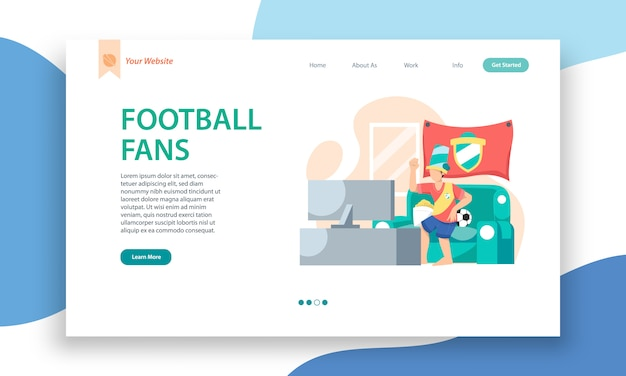 Football fans  website template, landing page design for website and mobile site development.