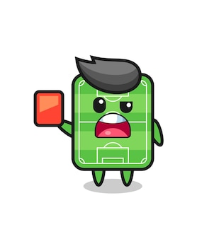 Football field cute mascot as referee giving a red card , cute style design for t shirt, sticker, logo element
