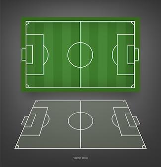 サッカー場またはサッカー場の背景。サッカーゲームを作成するための緑の芝生のコート。ベクトルイラスト。