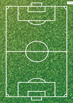 Футбольное поле или фон футбольного поля. зеленая трава для создания футбольного матча. векторная иллюстрация.