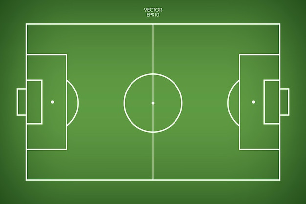 Football field or soccer field background. green grass court for create soccer game. vector illustration.