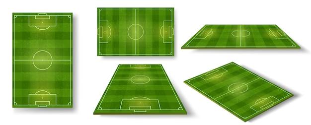Футбольное поле. схема футбольного поля сверху, сбоку и в перспективе. реалистичная европейская футбольная площадка или стадион с набором векторных зеленой травы. иллюстрация схемы футбольного поля, спортивная арена