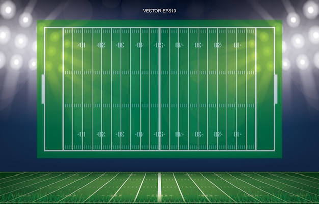 Football field stadium background with perspective line pattern of green grass field.