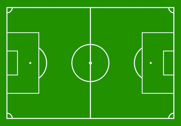 Футбольное поле с зеленой травой. векторная иллюстрация