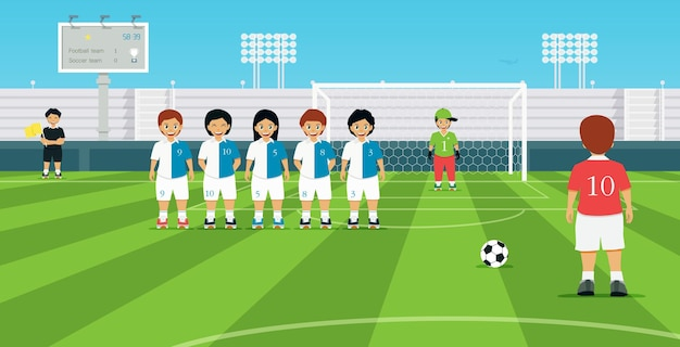 Футбольный штрафной удар с игроком соперника создает защитную стену.