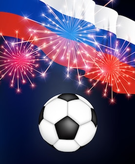 Football game championship russia with flag