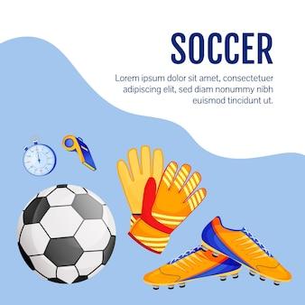 フットボール用品のソーシャルメディアのポストモックアップ。サッカーグッズ。 webバナーデザインテンプレート。スポーツ用品ブースター、碑文付きコンテンツレイアウト。ポスター、印刷広告、フラットなイラスト