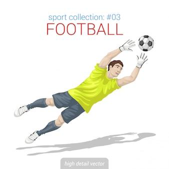 Football goalkeeper jump catches ball illustration.