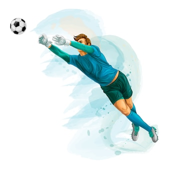 Football goalkeeper jumps for the ball. splash of watercolors. vector realistic illustration of paints