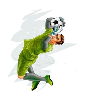 축구 골키퍼는 공을 위해 점프합니다. 페인트의 벡터 현실적인 그림