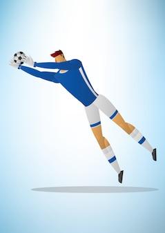Football goalkeeper player blue uniform action save a goal.