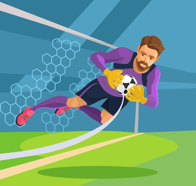 Football goalkeeper. vector flat illustration