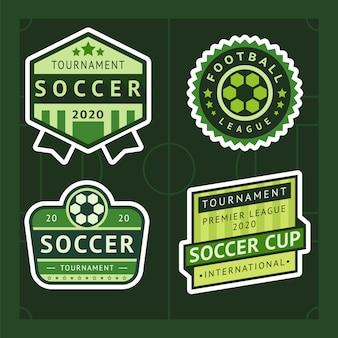 Football green set badge