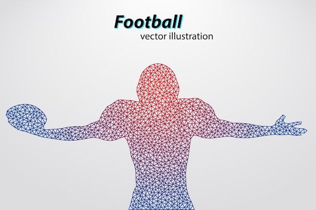フットボールのヘルメットと手のシルエット