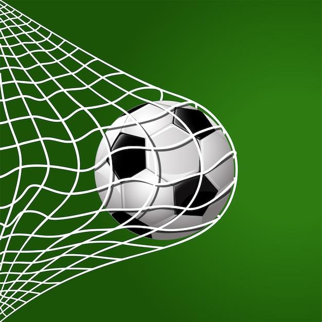 緑の背景にサッカー打撃ゴールネット