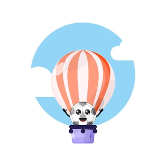 Football hot air balloon cute character mascot