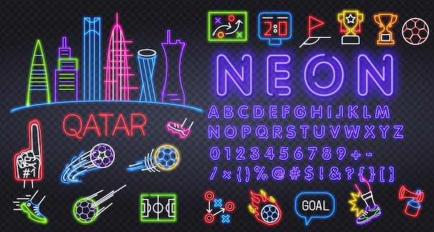 Football icon set isolated soccer neon sign uniform cup ball whistle soccer ball football field scor...