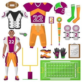 Football icons set. , sport equipment and uniform