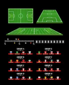 Элементы футбольной инфографики. шаблон статистики футбольного матча