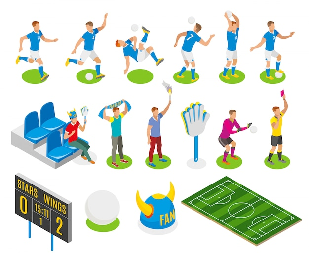 Football isometric set of fans gamers referee characters board with score of match illustration