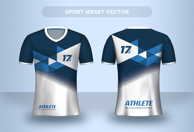Football jersey design template. corporate design shirt. soccer club uniform t-shirt front and back view.