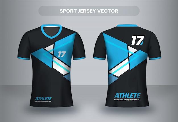 Football jersey design template. corporate design shirt. soccer club uniform t-shirt front and back view.