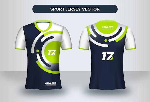 축구 유니폼 디자인 템플릿입니다. 기업 디자인, 축구 클럽 유니폼 티셔츠 전면 및 후면보기.