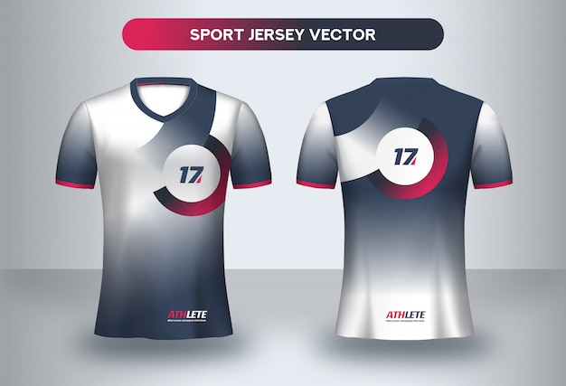 Football jersey design template. corporate design, soccer club uniform t-shirt front and back view.