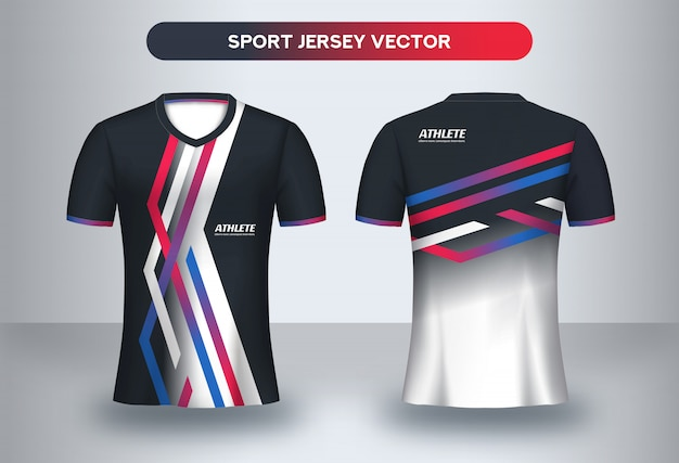 Football jsersey template, soccer club uniform t-shirt front and back view.