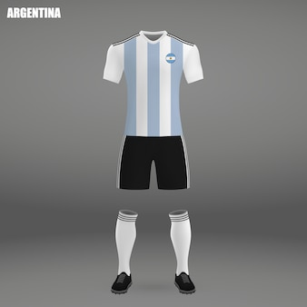 Football kit of argentina, tshirt template for soccer jersey