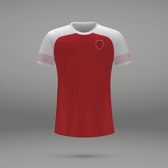Football kit arsenal, shirt template for soccer jersey