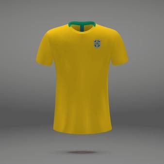 Football kit of brazil, tshirt template for soccer jersey