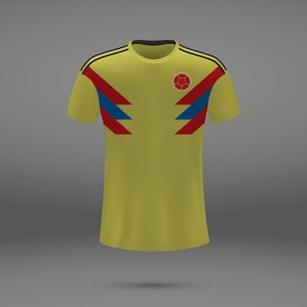 Football kit of colombia, tshirt template for soccer jersey