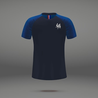 Football kit of france 2018, t-shirt template for soccer jersey.