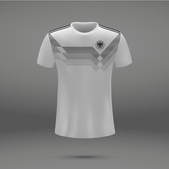 Football kit of germany 2018, t-shirt template for soccer jersey.