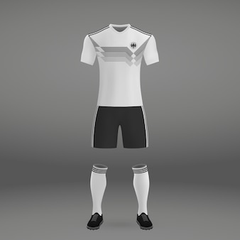 Football kit of germany, tshirt template for soccer jersey