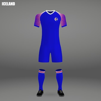 Football kit of iceland, tshirt template for soccer jersey
