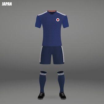 Football kit of japan, tshirt template for soccer jersey